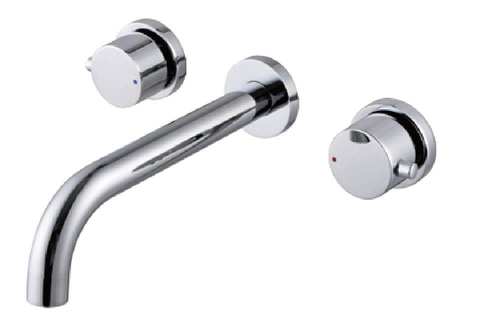 Modern chrome brass in-wall bathroom concealed lavatory faucet