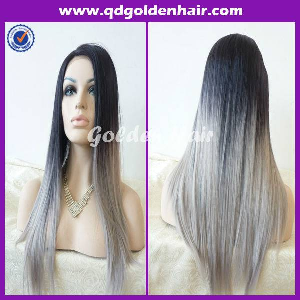 Golden Hair New Arrival Fibre Synthetic Two Tone Lace Front Wig
