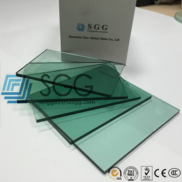 4mm 5mm 5.5mm 6mm 8mm 10mm 12mm Light Green Tinted Float Glass