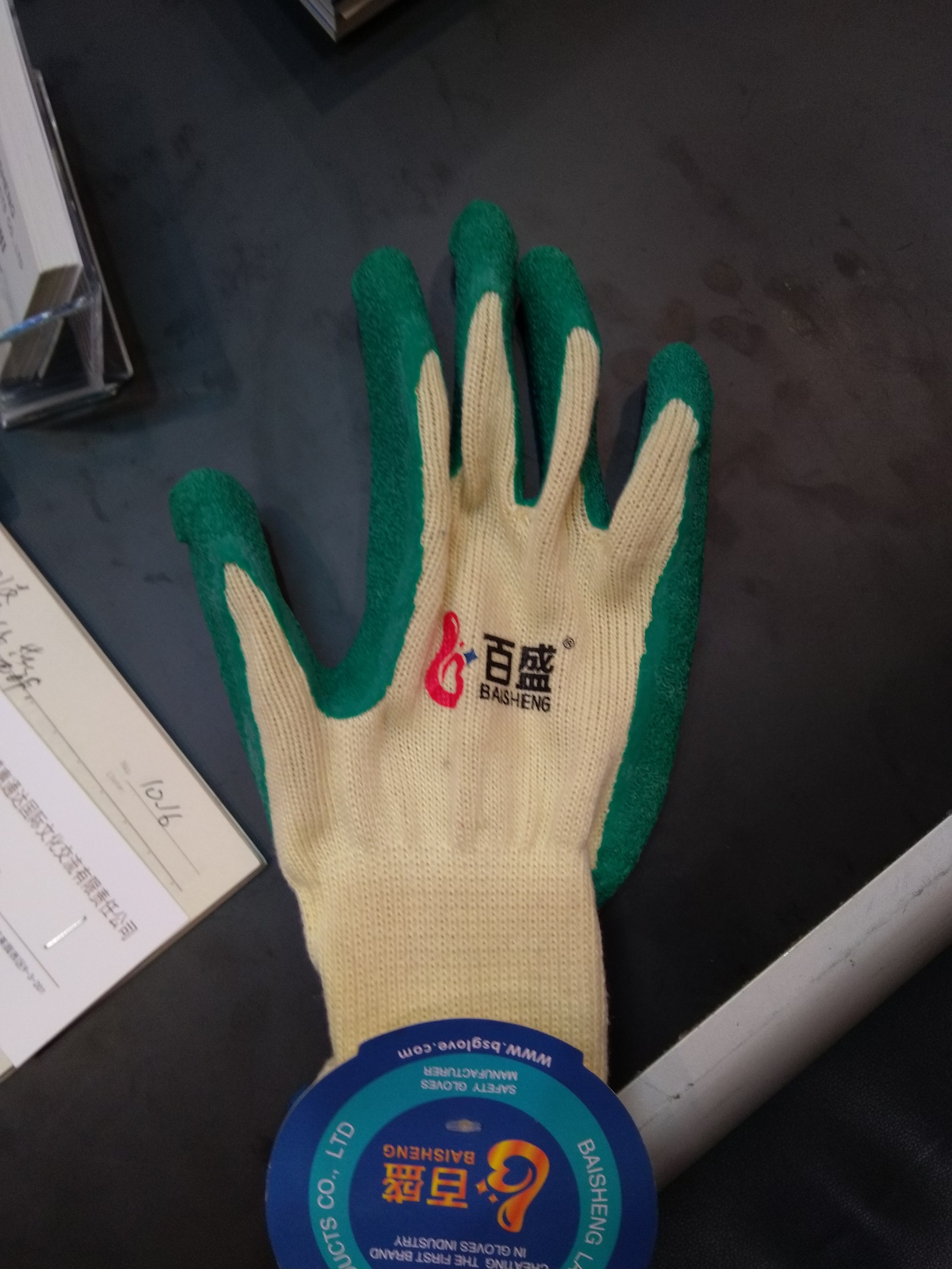10gauge5threas polycotton liner with latex crinkle finished palm coating glove