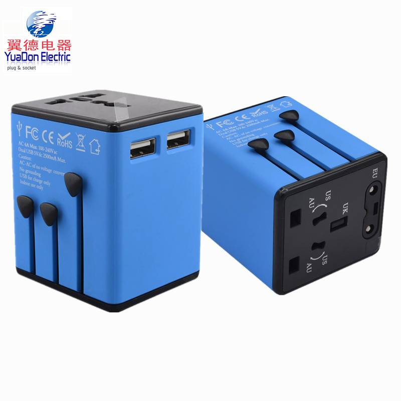 Travel Adapter with 2 USB Ports All in One Universal Plug Adapter Charger Over 150 Courties