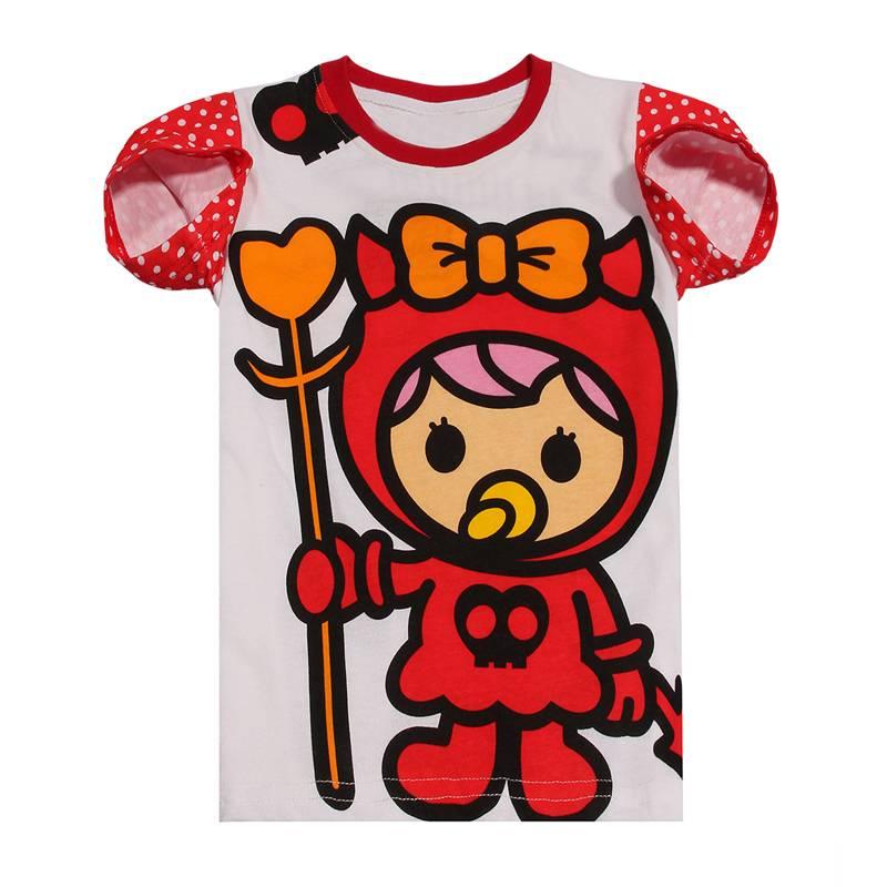 wholesale summer short sleeve girls skirt T-shirt children's cartoon 100% catoon