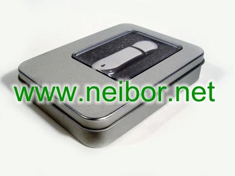 USB flash disk tin box, USB tin box, gift tin box for USB flash disk, rectangular tin box with windo