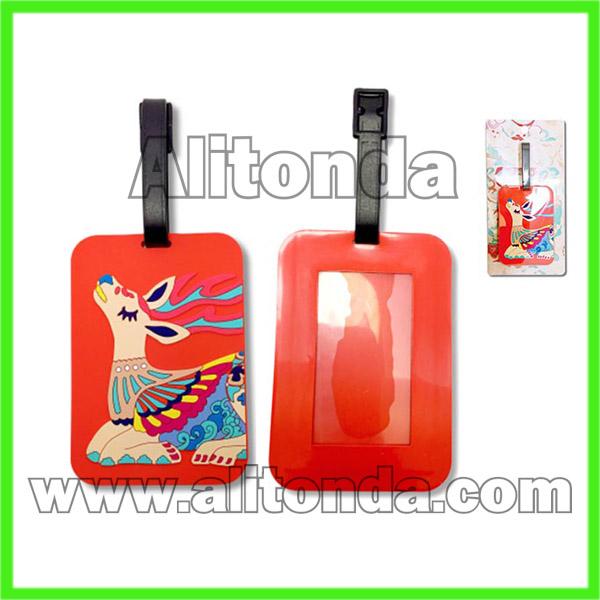PVC cartoon soft cute luggage tag customized for travel suitcase borading