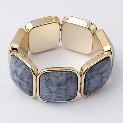 Bright Temperament Wide Bracelet With Elastic Dark Gray