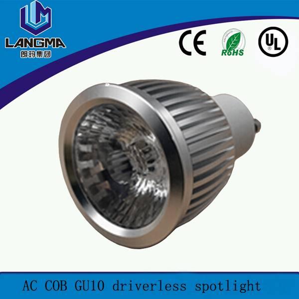 AC driverless cob samsung 6w gu10 e27 spotlight