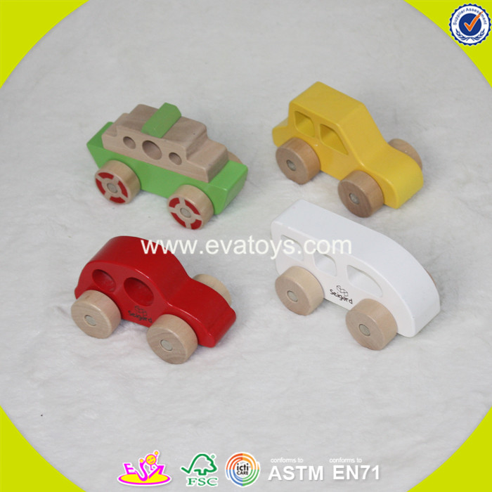 2017 wholesale baby cheap kids miniature wooden car funny children W04A262