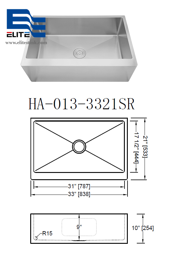 flat apron Stainless Steel Sink single bowl