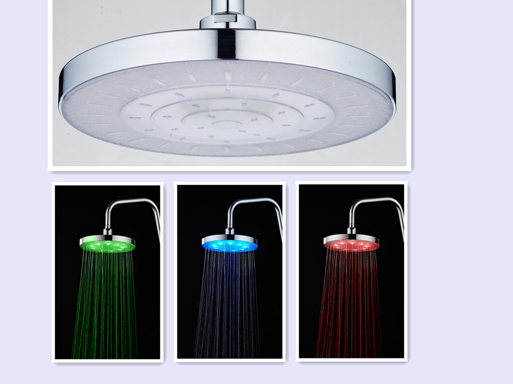 RC-9826A China Supplier Multi-Function 9 Inch Round Water Driving Led Overhead Shower
