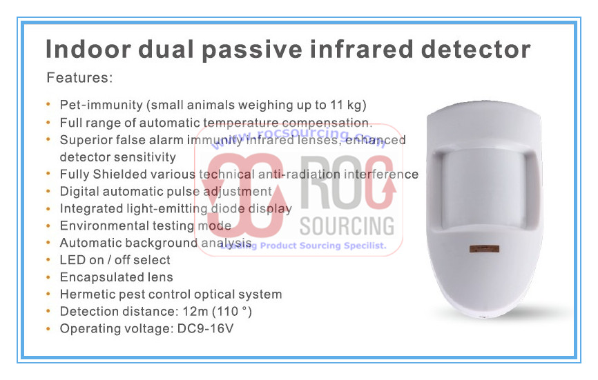Indoor Dual Passive Infrared Detector PIR Motion Sensor for anti intrusion Home Alarm System