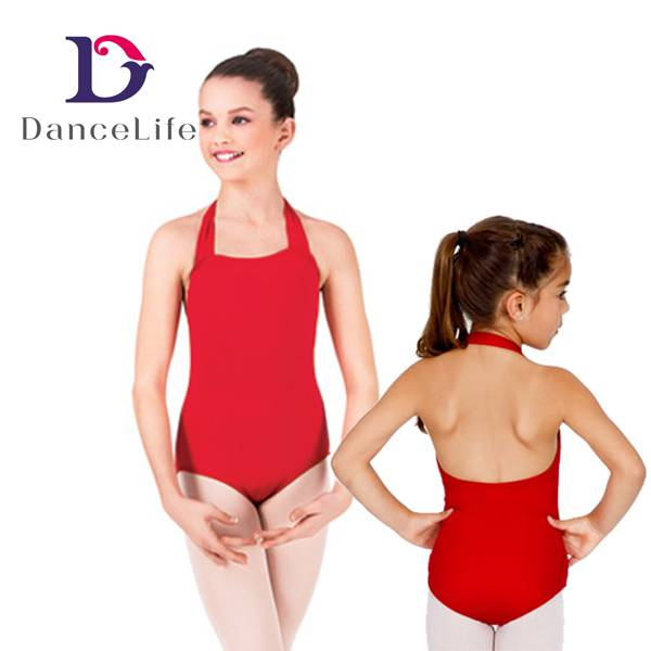 Children's Halter Gymnastic Leotard with Low Back, Various Colors are Available