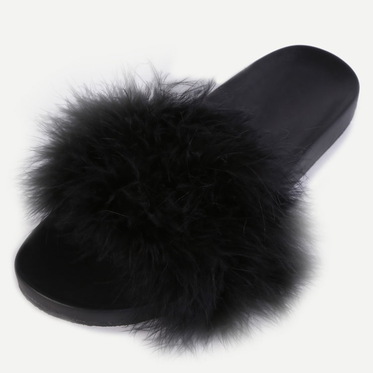 Wholesale Black Faux Fur Soft Sole Slide Sandal Women Summer Flat Slippers