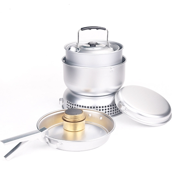 Outdoor aluminum camping cookware set with stove