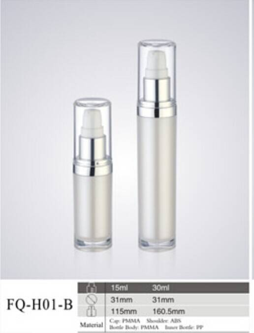 pearl white long plastic acrylic cosmetic use bottles