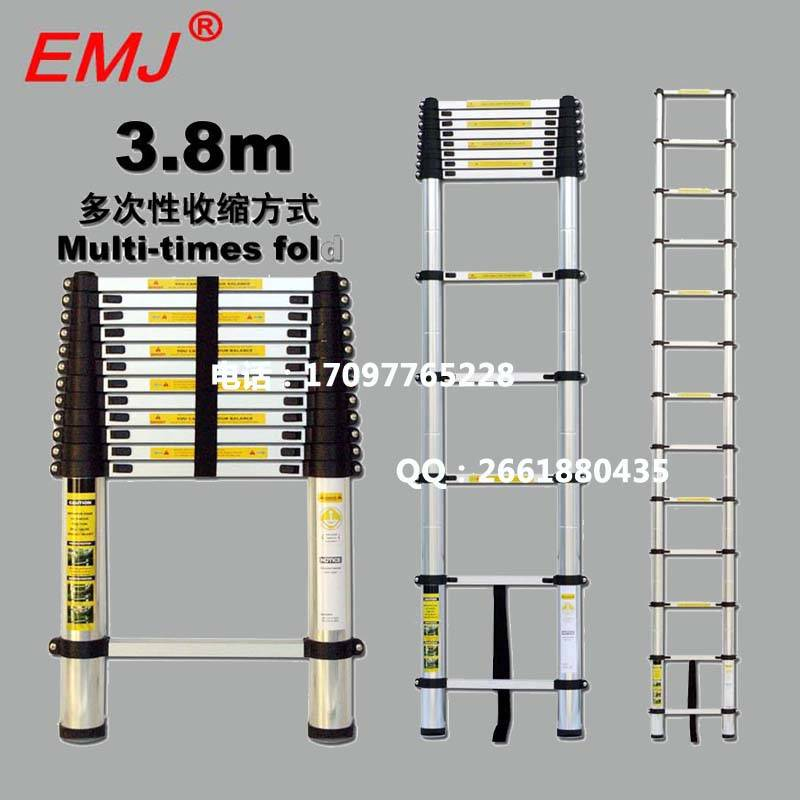 EMJ 3.8m single telescopic ladder