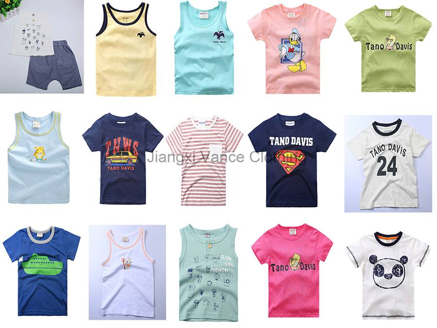 cotton polyester short sleeve kids t shirts tank tops