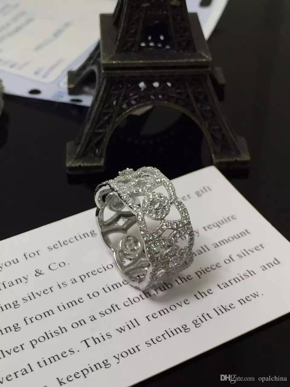 NEFFLY jewelry S925 Full Diamond Stering Silver Ring European Pandora Style Superb Micro Inlay Techn