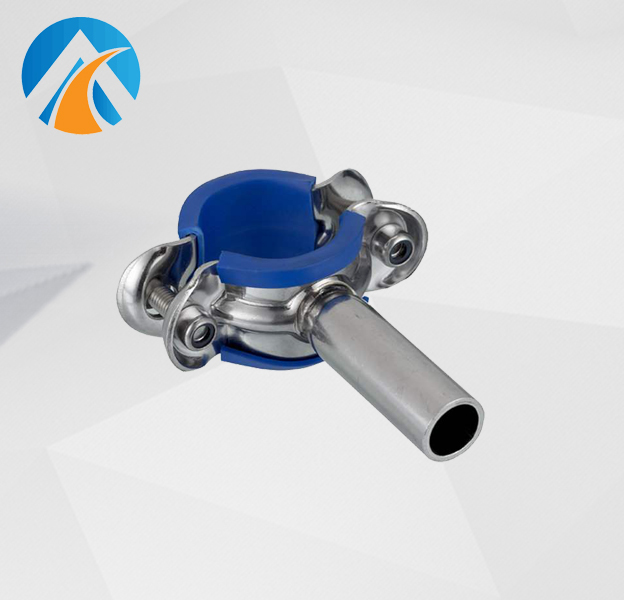 Sanitary stainless steel pipe hanger with blue rubber