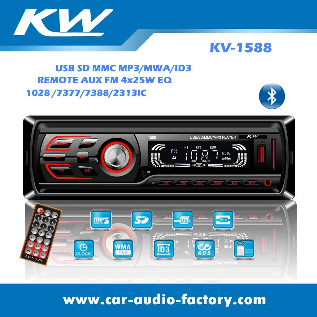 KV1588 Fixed Panel Car audio MP3 player with Bluetooth