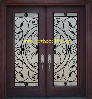 Hot-sale double iron entry door/ wrought iron door