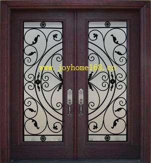 Hot-sale double iron entry door/ wrought iron door