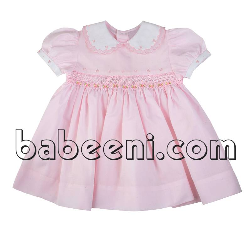 Pink geometric hand smocked scallop dress for little girls - DR 2282