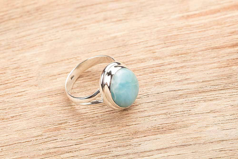 92.5 sterling silver Larimar Ring
