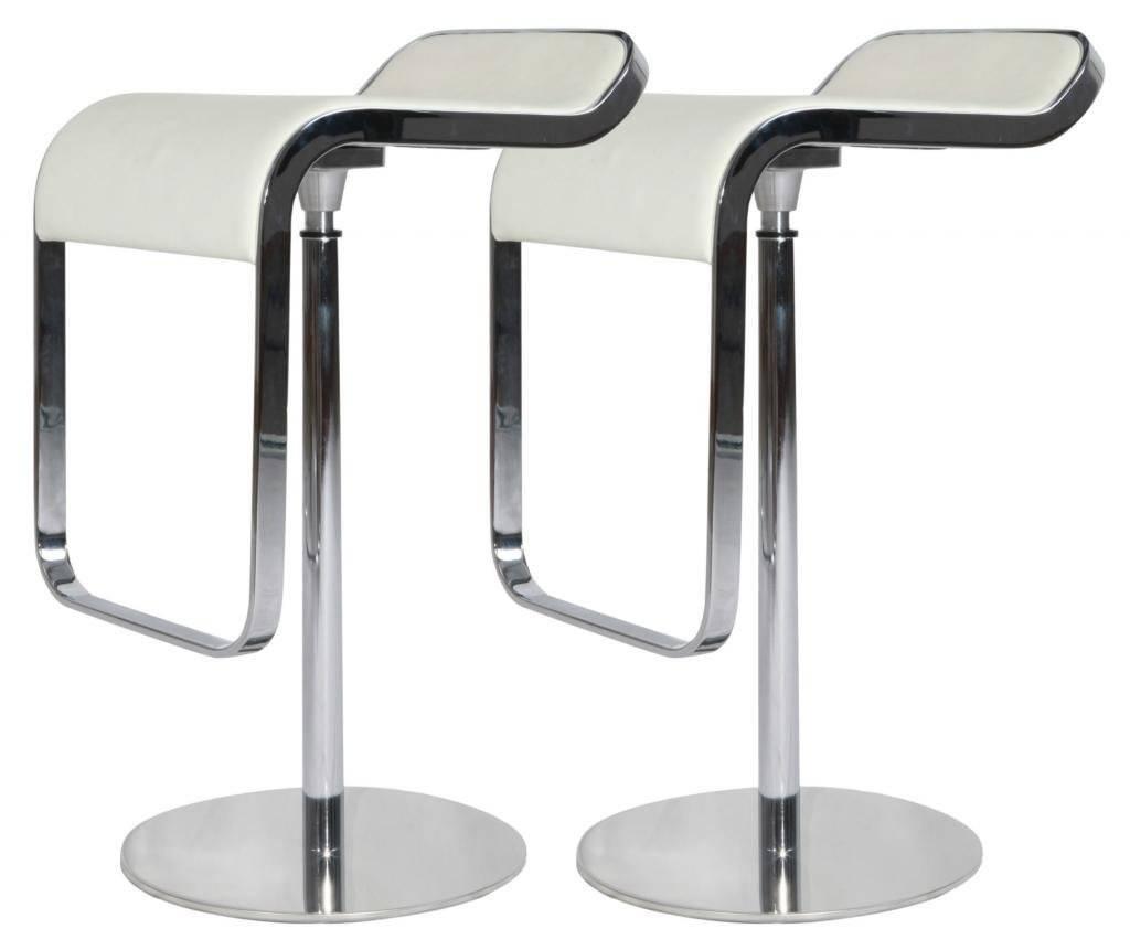 MLF® LEM Style Piston Bar Stool in Top Italian Leather (White)(Set of 2)