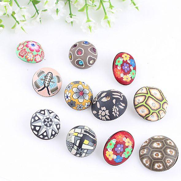 fashion polymer clay rhinestone jean button