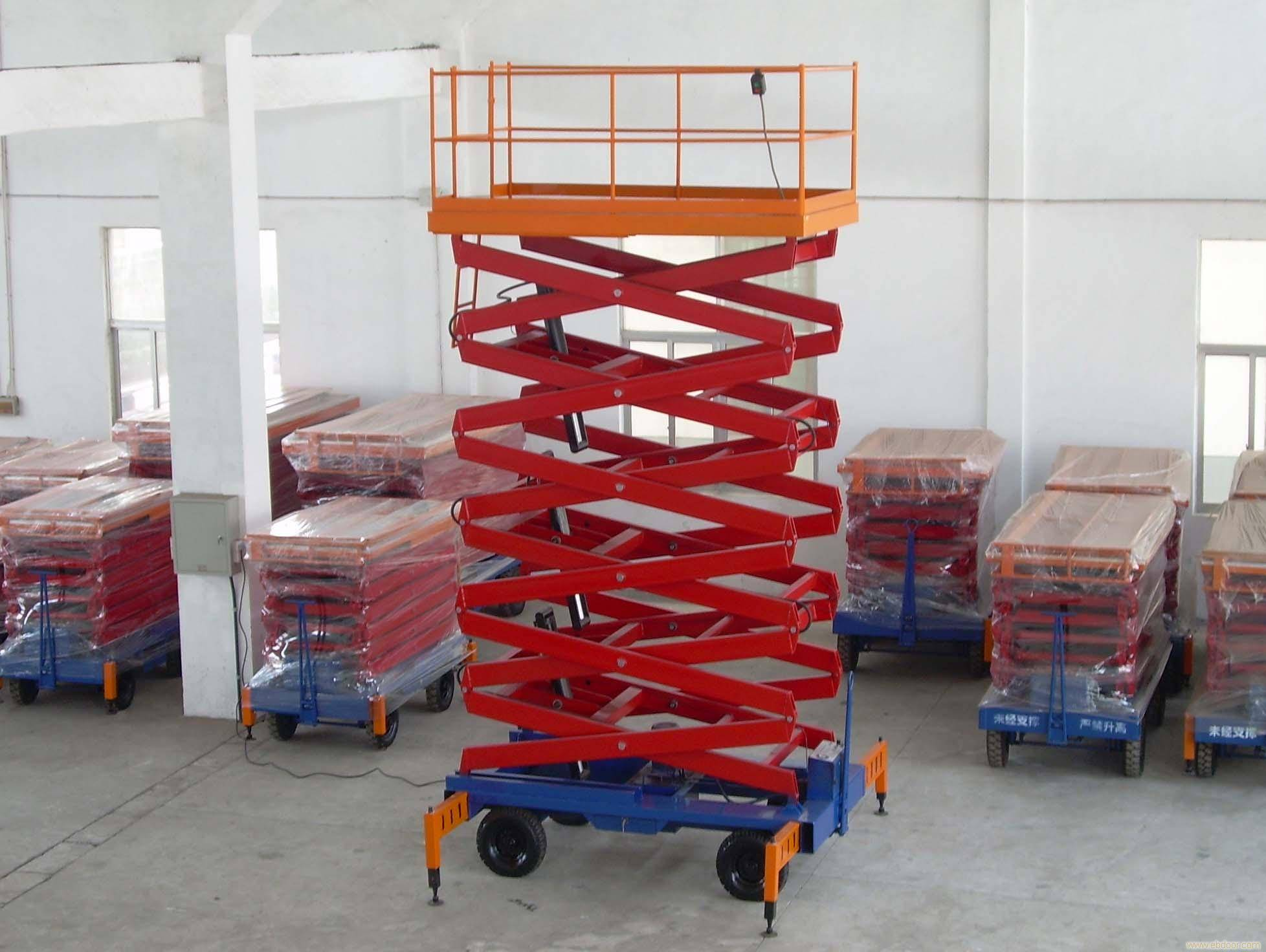 Self - Propelled Red Hydraulic Lift Table / Hydraulic Elevating Platform