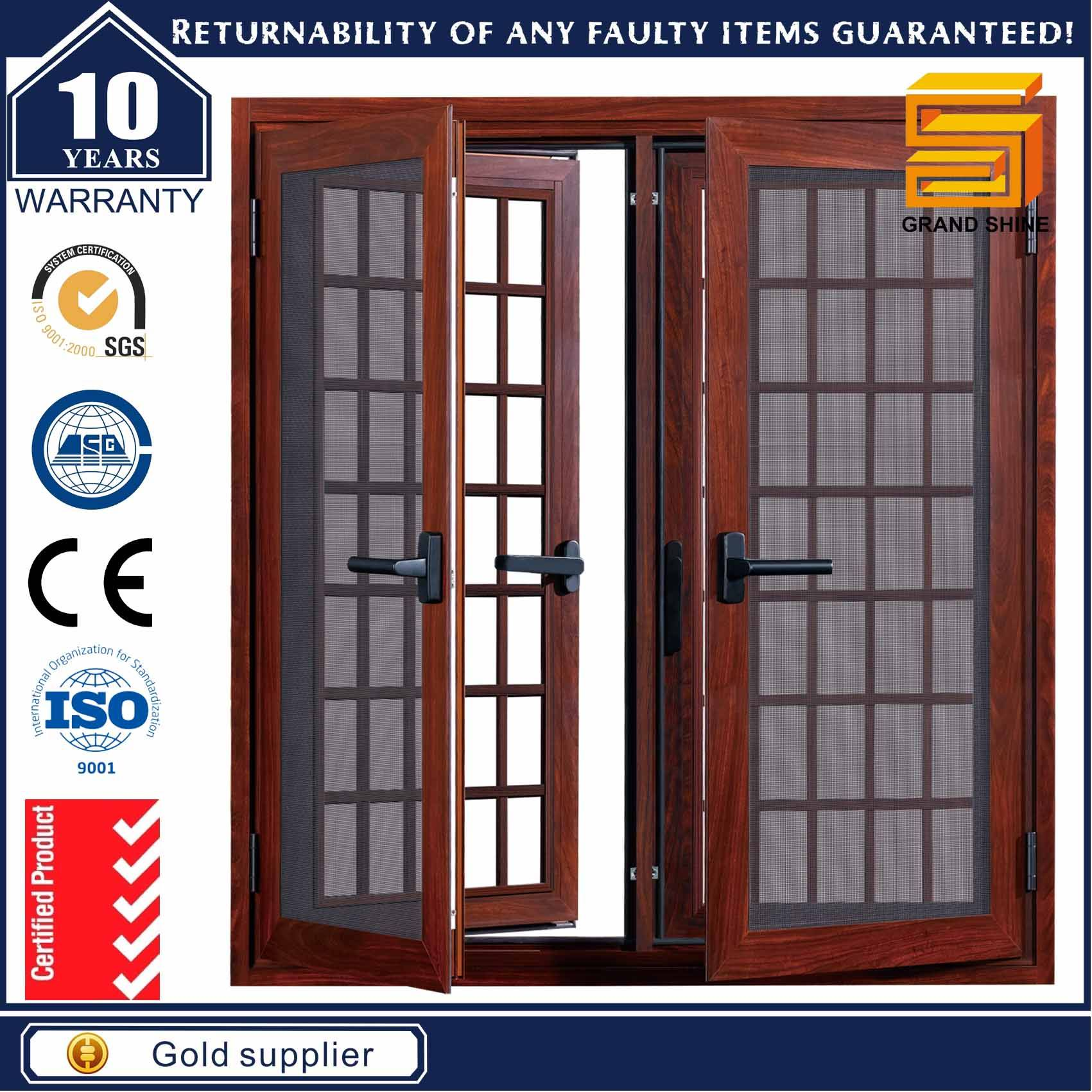 Customized Aluminum Double Glazing Casement Window with Flyscreen