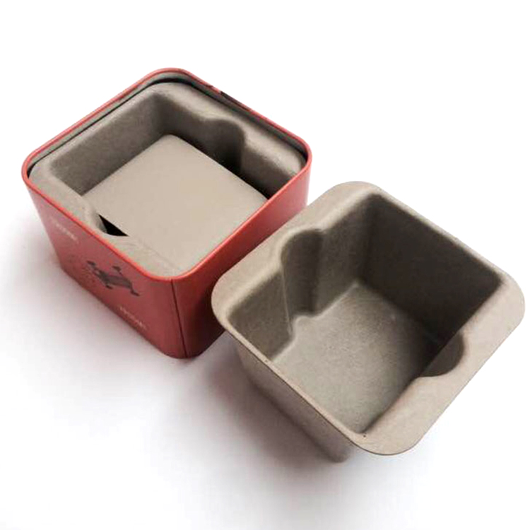 Gray wet press wrist watch anti-static biodegradable packaging paper pulp tray