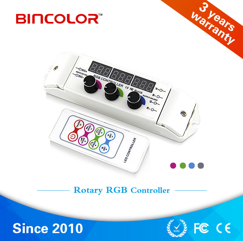 BC-350 Zhuhai Bincolor rotary knob adjustable RGB led controller with digital display