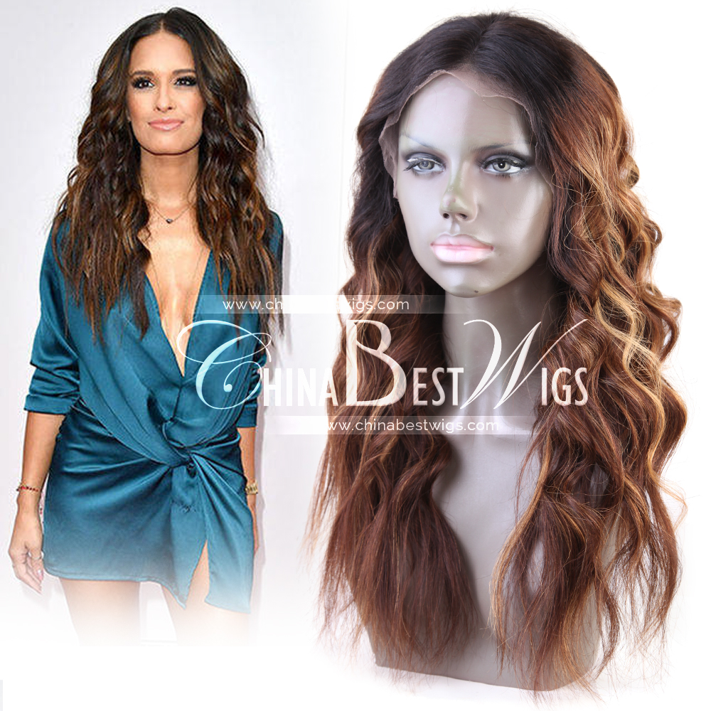 ombre wavy virgin hair frontal wig