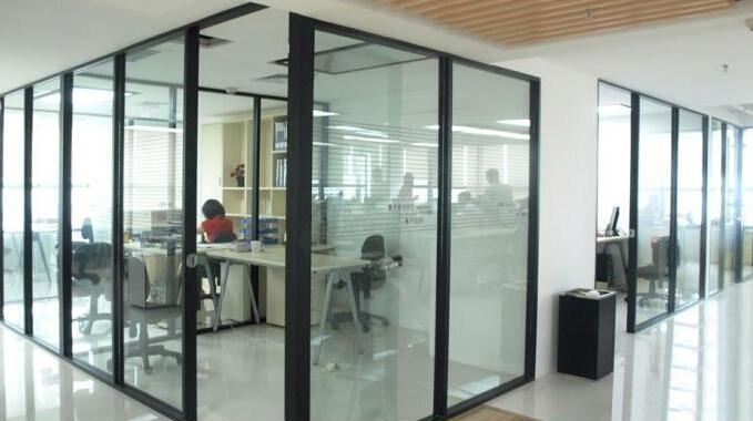 pre-fabricated office invisible glass aluminum partition wall double glazed,low-e glass