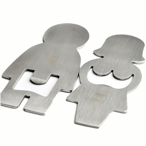 Man and Woman Stainless Steel Bottle Opener
