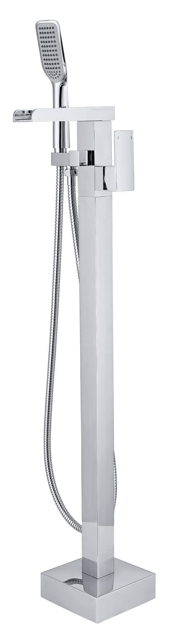 Solid Brass Contemporary Floor Standing Tub Shower Faucet with Hand Shower - Chrome Finish