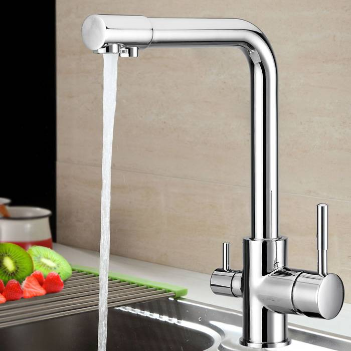 New Dual Handle Chrome Plated Water Filter 3 Way Ro Kitchen Faucet