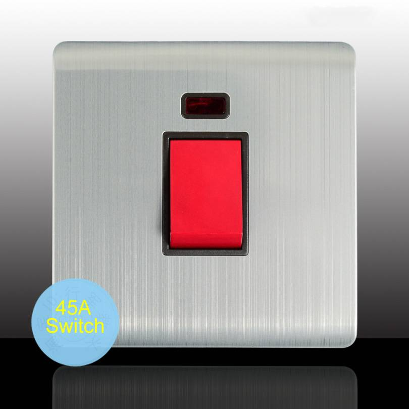 Single Gang 45Amp Cooker Switch with Neon for Large Power Electrical Appliances in Kitchen