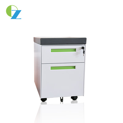 Fashion Design Filing steel mobile cabinet with 2 drawers for secure personal under desk storage
