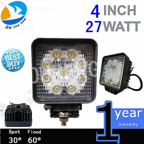 Hot Sell High Quality 3W 4inch 27w LED work light for Offroad Trucks, Jeep, SUV