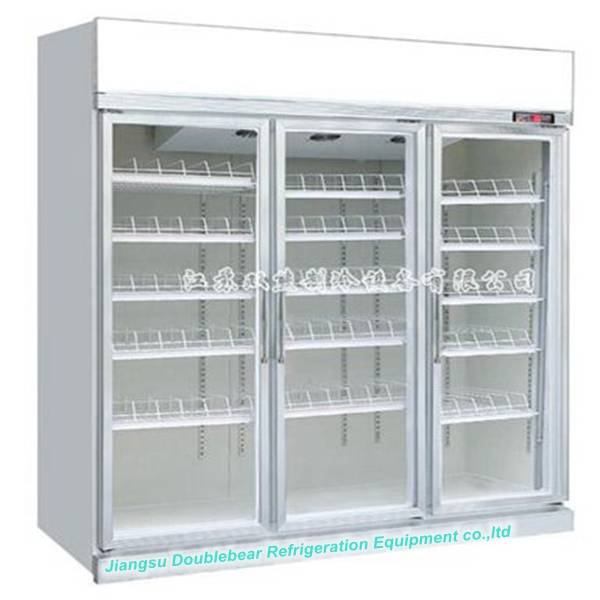 Three door standard upright display refrigerator