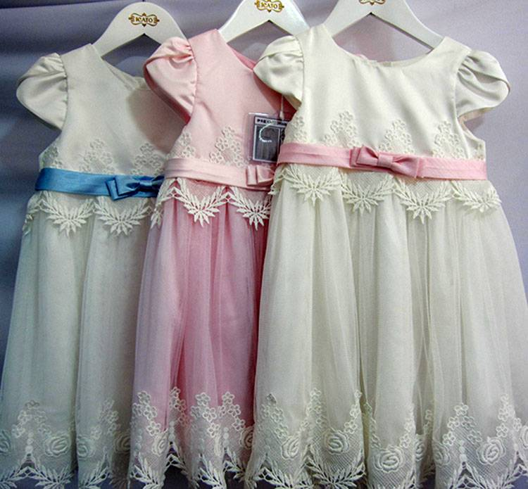 School Baby Girl Graduation Wear Lace Applique Bowknot Belt Party Dresses White