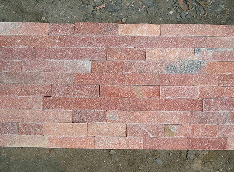 crystal pink flat culture stone for wall cladding decorations