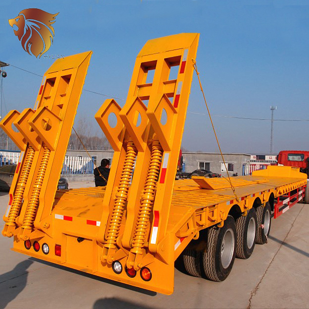 HYUAN low price 3 axle platform semi-trailer low bed semi trailer low bed trailer for sale