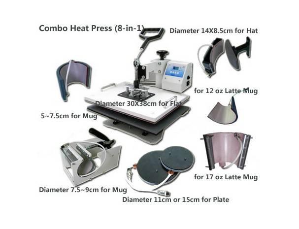 Nuevo estilo 8in 1 Heat Press Machine Combo