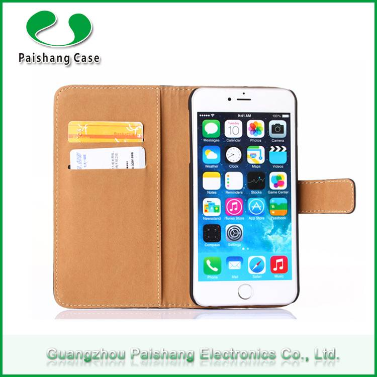 Stitching mobile phone wallet PU flip leather cell phone case cover for iphone 6/ 6 plus with card s