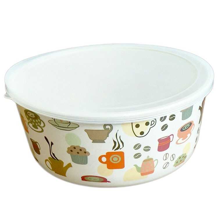 Eco Friendly Reusable Bamboo Fiber Tableware Take Away Covered Soup Bowl
