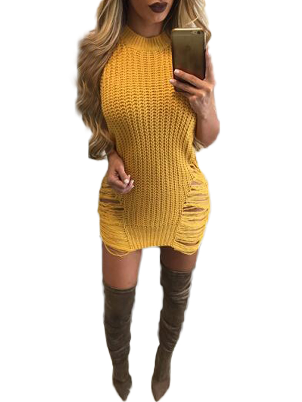 Fashion Women Summer Solid O-Neck Sleeveless Hollow Out Asymmetrical Sweater Dress WT73026