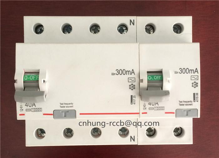 Legrand type RCD 2P/4P residual circuit breaker